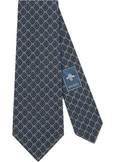 Gucci GG and rhombus motif silk tie