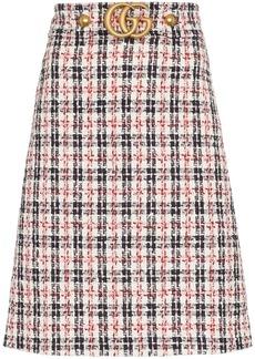Gucci GG belt A-line tweed skirt
