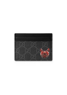 Gucci GG card case with wolf head