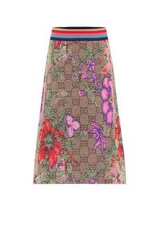 Gucci GG Flora wool-blend midi skirt