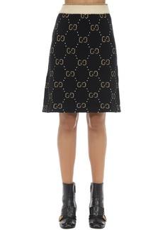 Gucci Gg Intarsia Wool Blend Knit Skirt