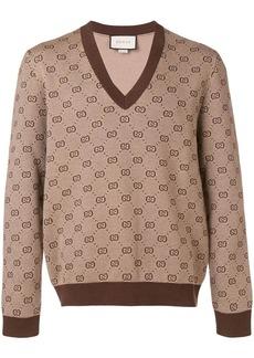 Gucci GG jacquard knit V-neck sweater