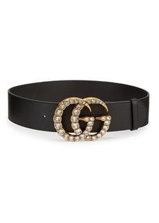 Gucci GG Leather & Crystal Belt