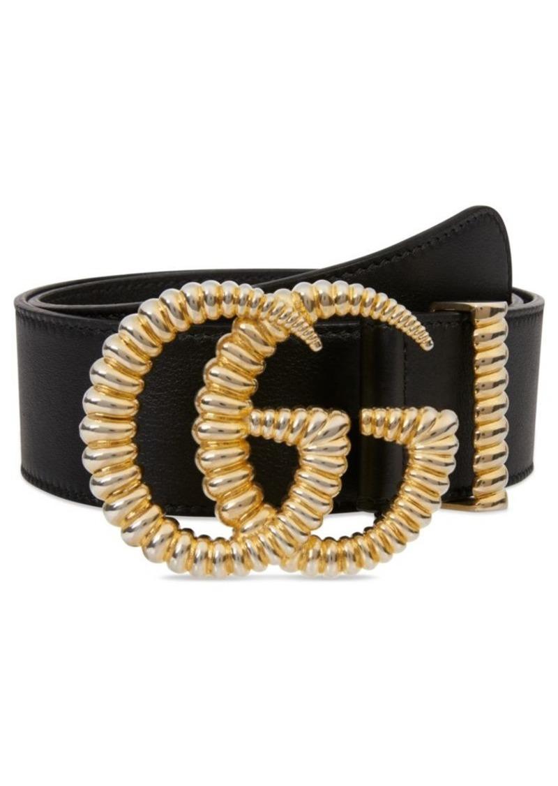 Gucci GG Leather Logo Belt