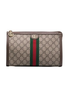 Gucci GG logo leather makeup bag
