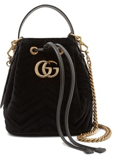 Gucci Gg Marmont Leather-trimmed Quilted Velvet Bucket Bag