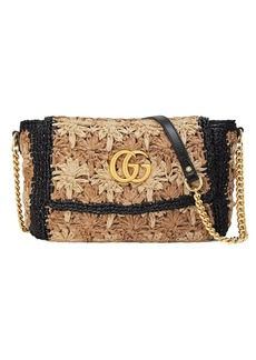 Gucci GG Marmont raffia small shoulder bag