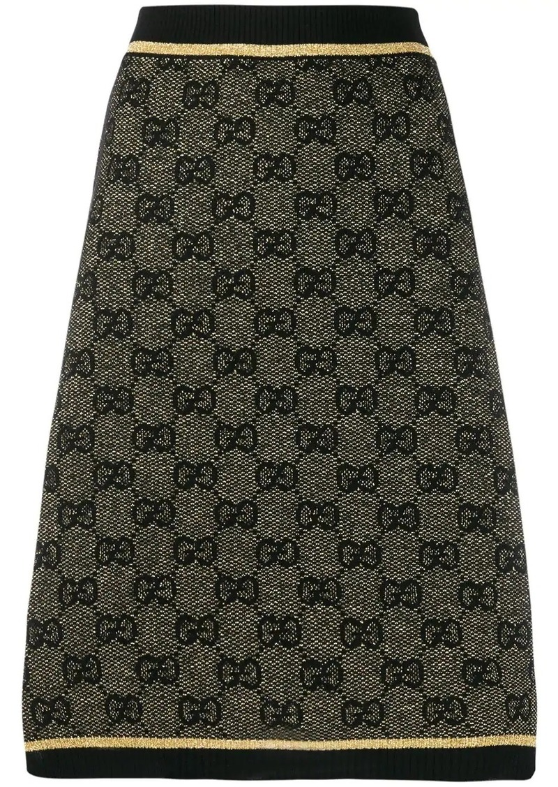 Gucci GG print metallic finish skirt