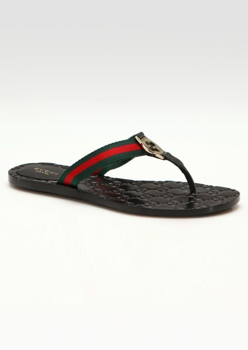 c1d6752d48f0 Gucci Web Strap Thong Sandals