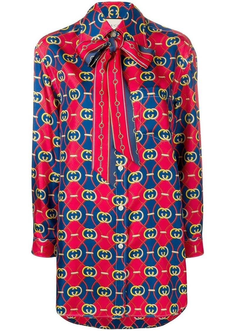 Gucci GG waves print shirt