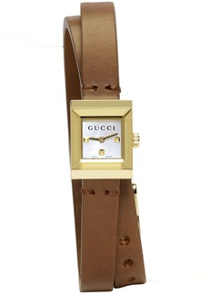 Gucci Gold & Brown Square Double Wrap Watch