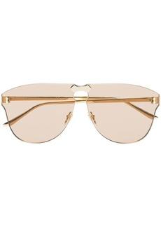 Gucci gold aviator-frame rimless sunglasses