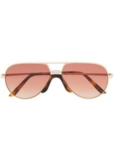 Gucci gold GG0432S 002 aviator metal sunglasses