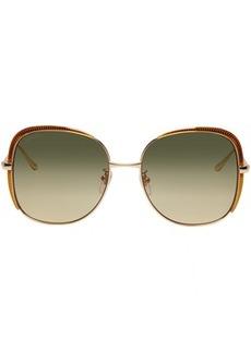 Gucci Gold Guillochet Square Sunglasses