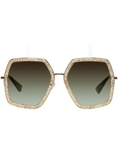 Gucci Gold Oversized Hexagon Sunglasses