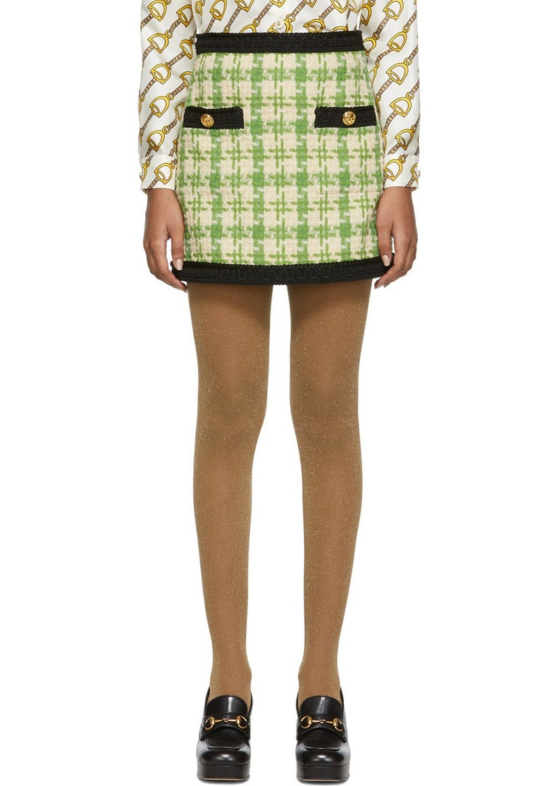 Gucci Green & Off-White Tweed Miniskirt