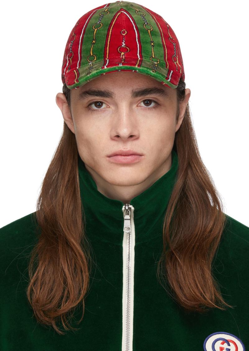Gucci Green & Red Chenille Horsebit Chain Cap