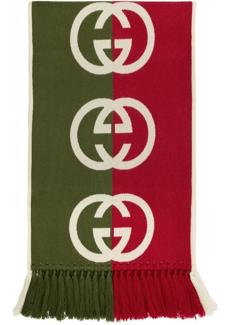 Gucci Green & Red Wool Logo Scarf