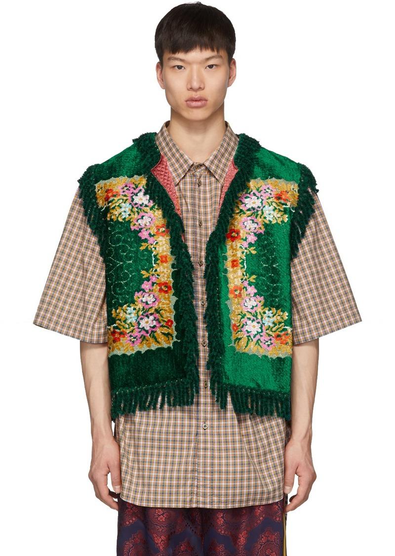 Gucci Green Floral Velvet Jacquard Vest