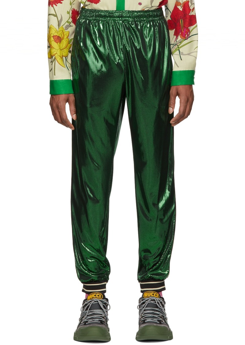 Gucci Green Laminated Oversized Lounge Pants