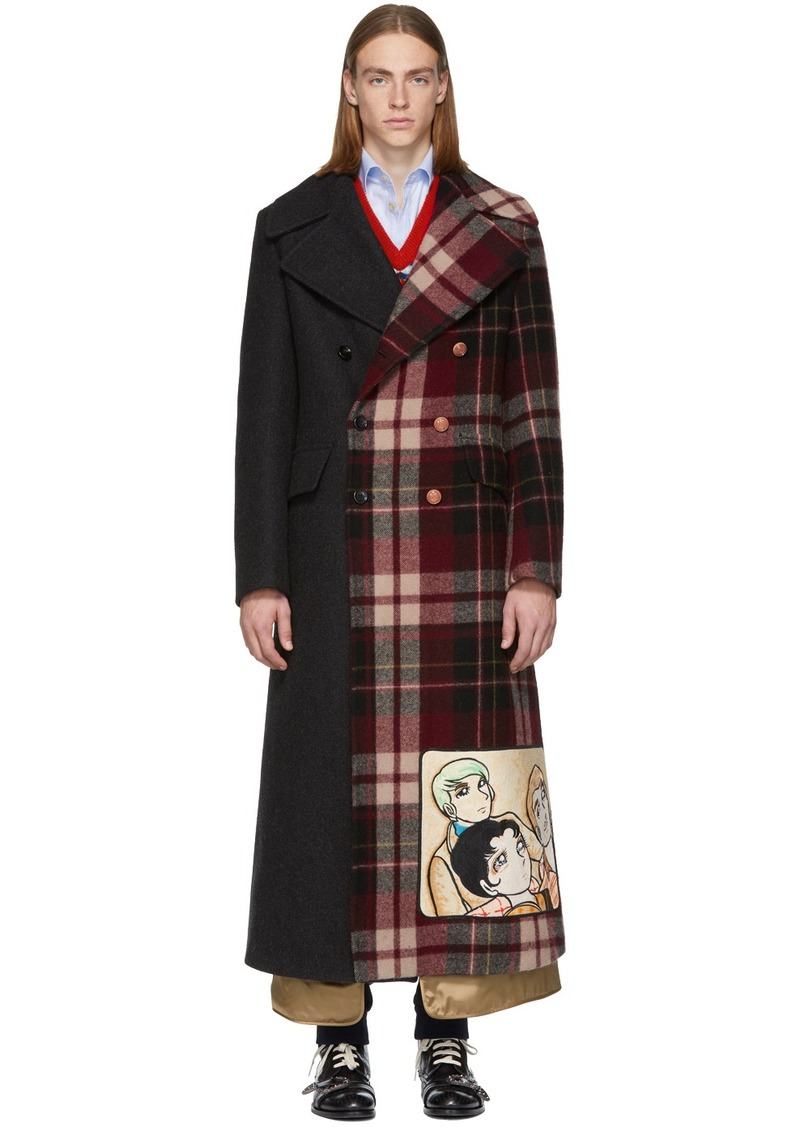 Gucci Grey & Red Wool Madras Coat