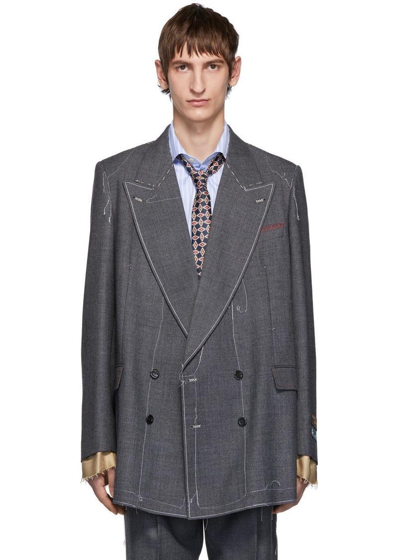 Gucci Grey Classic Sharkskin Double-Breasted Blazer