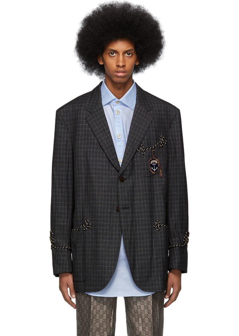 Gucci Grey Mouliné Crest Blazer