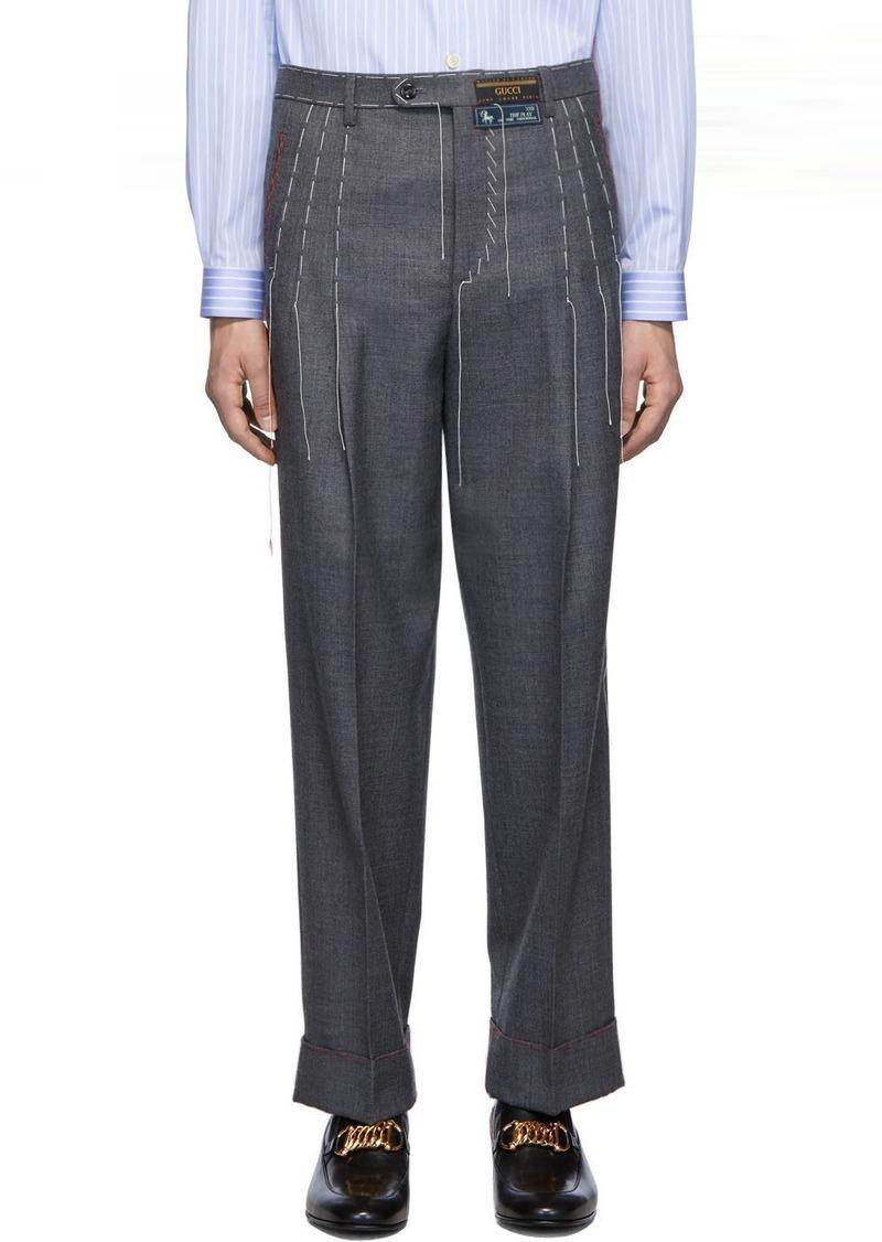 Gucci Grey Wool Stitching Trousers