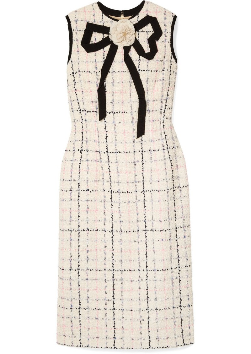 e88017935 Gucci Grosgrain-trimmed Checked Tweed Dress | Dresses
