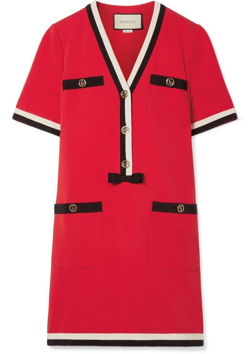 ca69e1ba1 Gucci Grosgrain-trimmed Stretch-ponte Mini Dress | Dresses