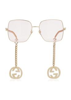 Gucci - Women's Chain-Detailed Square-Frame Sunglasses - Pink - Moda Operandi
