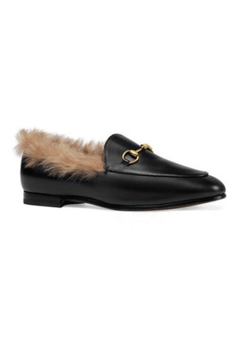 6a824c7346c Gucci Gucci 10mm Jordaan Leather And Fur Loafer