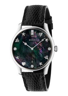 Gucci 36mm G-Timeless Diamond Watch w/ Lizard Strap