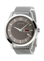 Gucci 40mm G-Timeless Round Steel Mesh Bracelet Watch