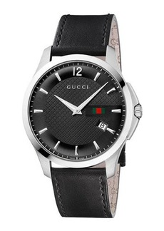Gucci 40mm G-Timeless Round Watch w/ Leather Strap