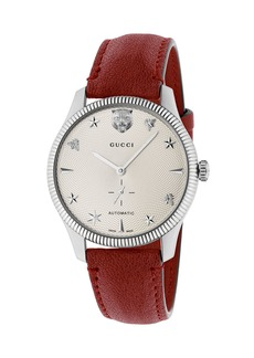 Gucci 40mm G-Timeless Watch w/ Transparent Back  Red
