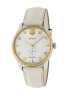 Gucci 40mm G-Timeless Watch w/ Transparent Back  White