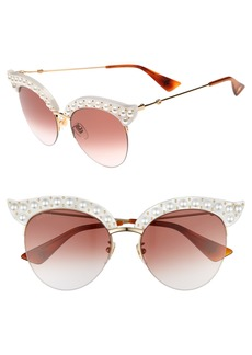 Gucci 53mm Embellished Cat Eye Sunglasses
