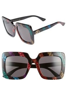 Gucci 53mm Glitter Stripe Square Sunglasses