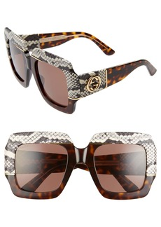 Gucci 54mm Genuine Snakeskin Embellished Square Sunglasses