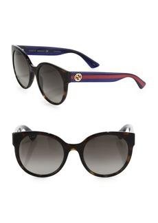 Gucci 54MM Web-Temple Round Sunglasses