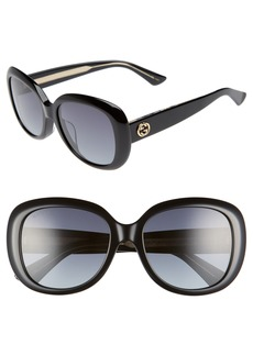 Gucci 55mm Rectangular Sunglasses