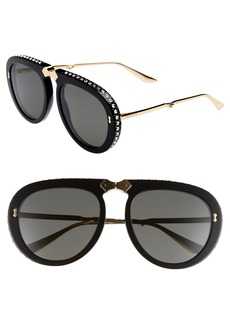 Gucci 56mm Crystal Studded Aviator Sunglasses