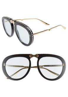 Gucci 56mm Crystal Studded Aviator Sunglasses