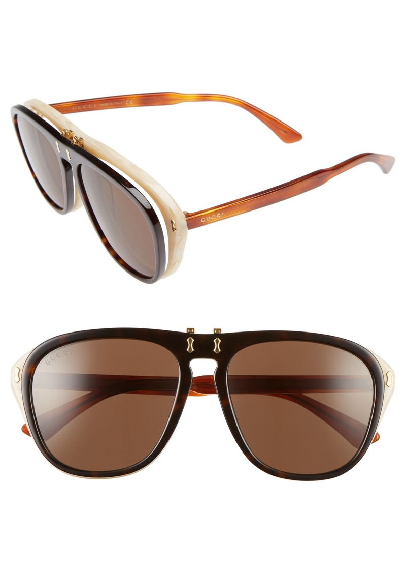 a5d9210f41 Gucci Gucci 56mm Flip-Up Sunglasses