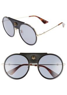 Gucci 56mm Leather Bridge Aviator Sunglasses