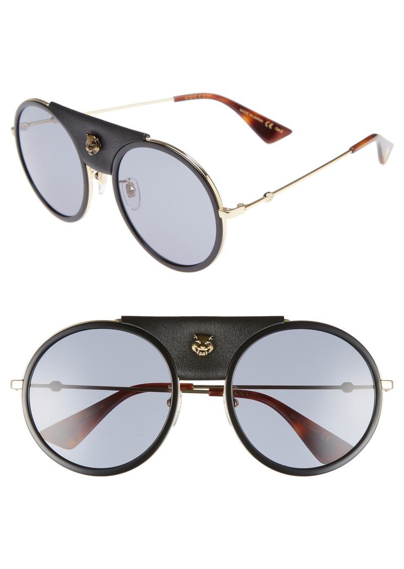 6dfc8b8eff Gucci Gucci 56mm Leather Bridge Aviator Sunglasses
