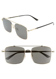 Gucci 56mm Navigator Square Sunglasses