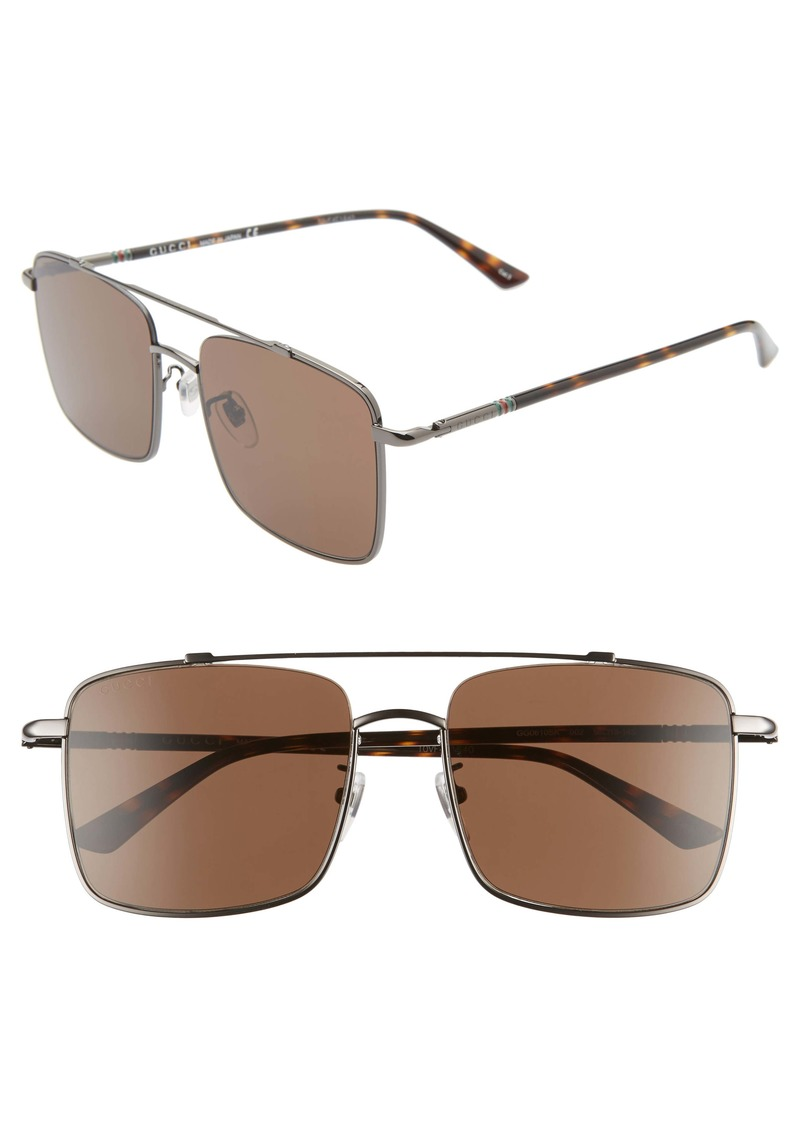 Gucci 56mm Navigator Square Sunglasses