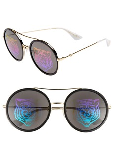 Gucci 56mm Round Mirrored Aviator Sunglasses